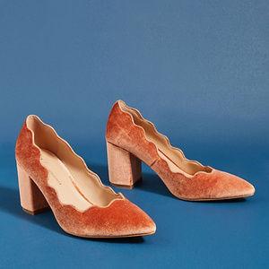 Anthropologie Scalloped Velvet Heels Size 7
